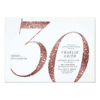 Modern minimalist rose gold glitter 30th birthday invitation