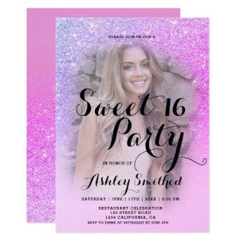 Modern pink purple glitter ombre photo Sweet 16 Invitation