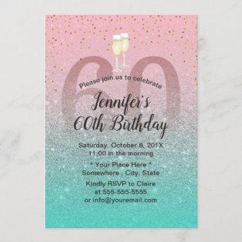 Modern Pink Silver Teal Glitter 60 Birthday Party Invitation