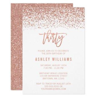 Modern Rose Gold Faux Glitter 30th Birthday