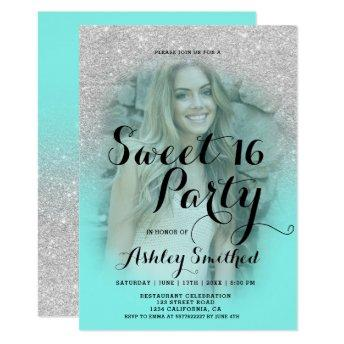 Modern silver glitter teal aqua photo Sweet 16 Invitation