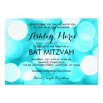 Modern Teal Glitter Lights Bat Mitzvah