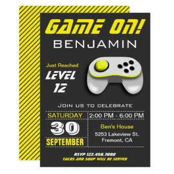 Modern Video Game Yellow Kids Birthday Party Invitation