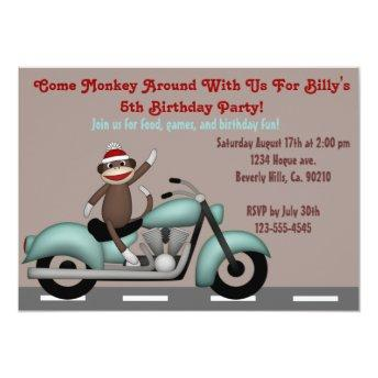 Monkey Around Motorcycle Birthday Invitation