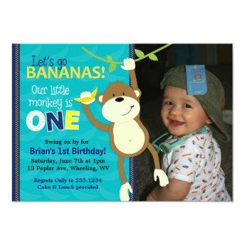 Monkey Bananas First Birthday Photo Invitation