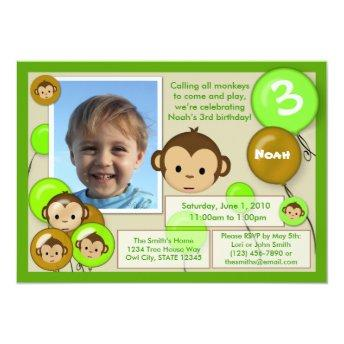 Monkey birthday invitation green brown (photo)