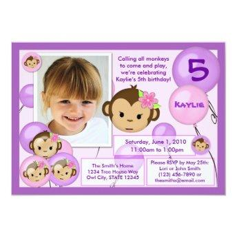 Monkey birthday invitation purple pink (photo)