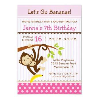 Monkey Blue Birthday Party Invitation