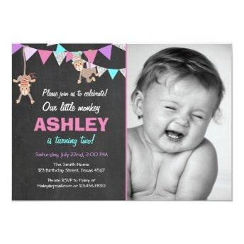 Monkey Bunting Birthday Party Invitation Pink Girl