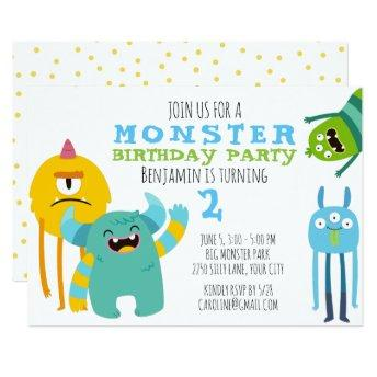 Monster Birthday Party Theme Invitation