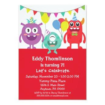 Monsters Birthday Invitation Boys Colorful Monster 6 Year Old