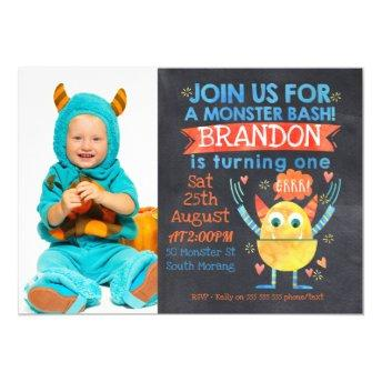 Monsters Photo Watercolor 1st Birthday Invitation