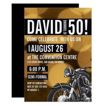 Motorcycle theme, 50th birthday, Gold and black Invitation