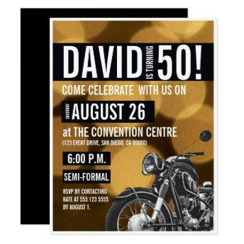 Motorcycle theme 50th birthday party Gold black Invitation