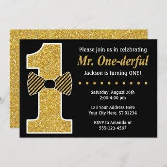 Mr. ONEderful Birthday Invitation • Black and Gold