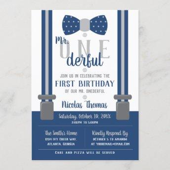 Mr. ONEderful Birthday Invitation, Blue, Gray Invitation