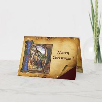 NATIVITY MONOGRAM CHRISTMAS PARCHMENT HOLIDAY Invitation