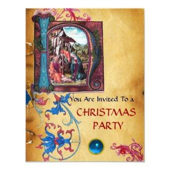 NATIVITY MONOGRAM FLORAL CHRISTMAS PARCHMENT INVITATION