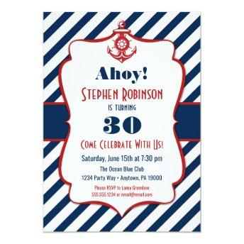 Nautical Birthday Invitation - Adult Mens Anchor
