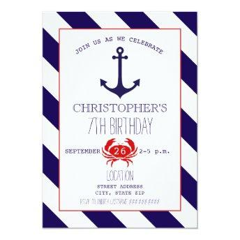 Nautical Birthday Party - Anchor  Crab