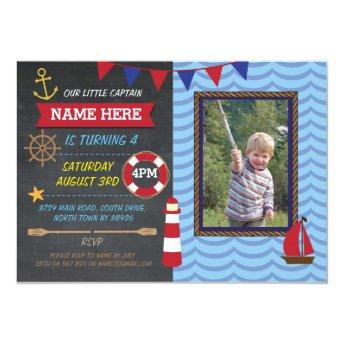 Nautical Birthday Party Photo Sailor Boats Invite