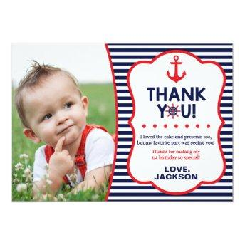 Nautical Birthday Thank You Invitation | Navy and Red