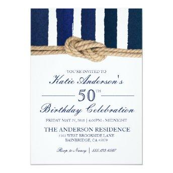 Nautical Knot Navy Stripes Birthday Invitation