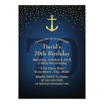 Nautical Navy Blue Gold Anchor 70th Birthday Party