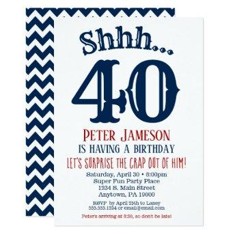 Navy Blue Funny Men's Surprise Party Invitation