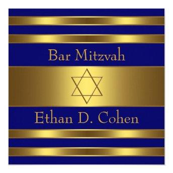Navy Blue Gold Star of David Bar Mitzvah