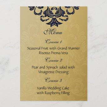 """navy blue"" gold wedding menu"