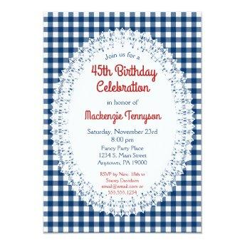 Navy Blue Rustic Gingham Birthday Party Invitation