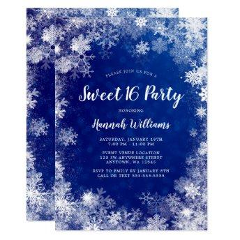 Navy Blue Snowflakes Winter Wonderland Sweet 16 Invitation