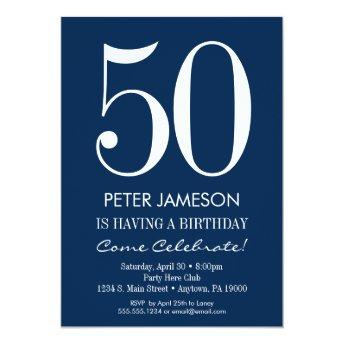 Navy Blue White Modern Adult Birthday Invitation