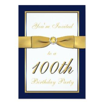 Navy, Gold, and White 100th Birthday