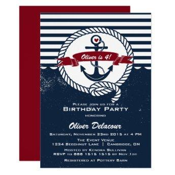 Navy Red Rustic Nautical Kids Birthday Invitation