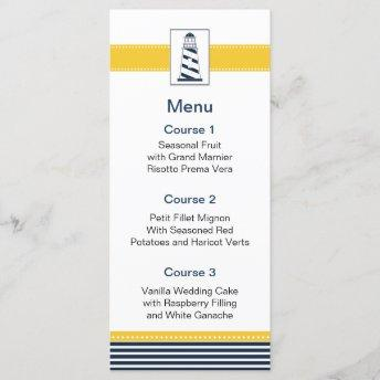 navy stripes,lighthouse, nautical menu Invitation