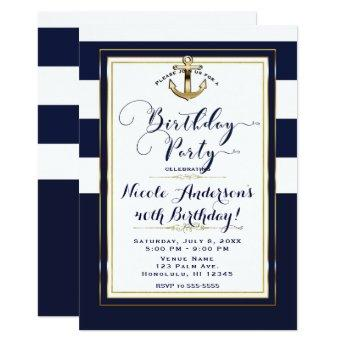 Navy White & Gold Anchor Nautical Birthday Party Invitation