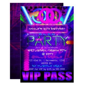 Neon Glow PARTY Birthday VIP PASS Club