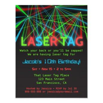 Neon Words Laser Tag Birthday Party Invitation