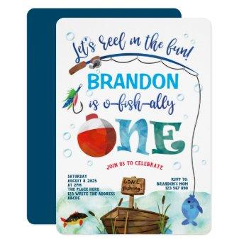 O-fish-Ally, Little Fisherman, Fishing Themed, 1st Invitation