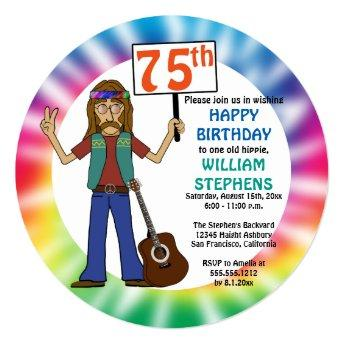 Old Hippie Hippy Tie Dye 75th Birthday Party Invitation