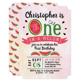 One In A Melon 1st Birthday Invitation