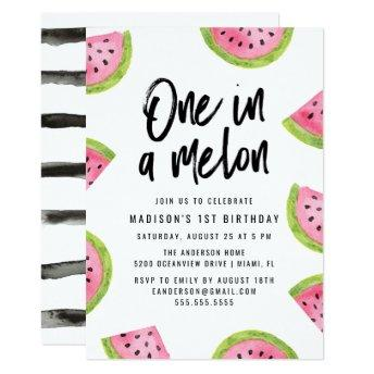 One in a Melon 1st Birthday Party Invitation