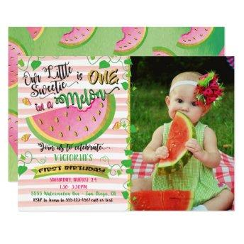 One in a Melon first Birthday Party with Photo Invitation