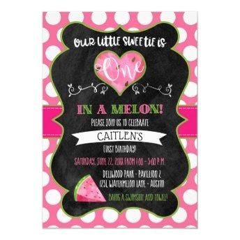 One in a Melon First Birthday Watermelon Pink Invitation