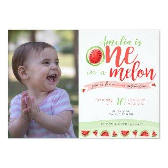 One in a Melon Watermelon First  Invite