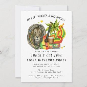 One Love First Birthday Party Invitation