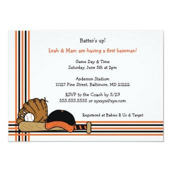 Orange & Black Baseball Baby Shower Birthday party