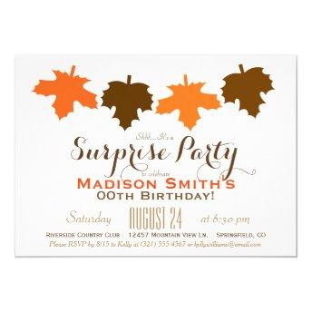 Orange & Brown Fall Leaves Birthday Surprise Party Invitation